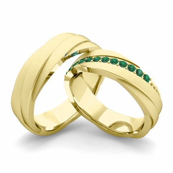 Satin Finish Matching Wedding Band in 18k Gold Emerald Rolling Wedding Rings