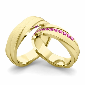 Satin Finish Matching Wedding Band in 18k Gold Pink Sapphire Rolling Wedding Rings