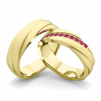 Satin Finish Matching Wedding Band in 18k Gold Ruby Rolling Wedding Rings