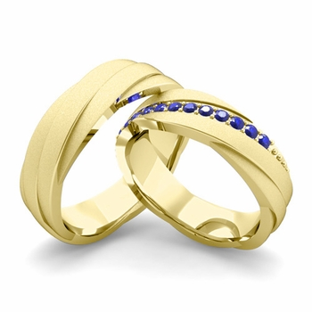 Satin Finish Matching Wedding Band in 18k Gold Sapphire Rolling Wedding Rings