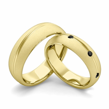 Satin Finish Matching Wedding Band in 18k Gold Wave Black Diamond Wedding Rings