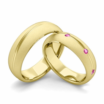 Satin Finish Matching Wedding Band in 18k Gold Wave Pink Sapphire Wedding Rings