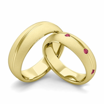 Satin Finish Matching Wedding Band in 18k Gold Wave Ruby Wedding Rings