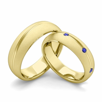 Satin Finish Matching Wedding Band in 18k Gold Wave Sapphire Wedding Rings