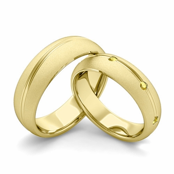 Satin Finish Matching Wedding Band in 18k Gold Wave Yellow Sapphire Wedding Rings