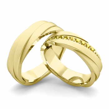 Satin Finish Matching Wedding Band in 18k Gold Yellow Sapphire Rolling Wedding Rings