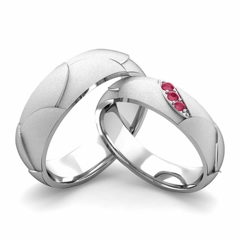 Satin Finish Matching Wedding Band in Platinum 3 Stone Ruby Wedding Rings