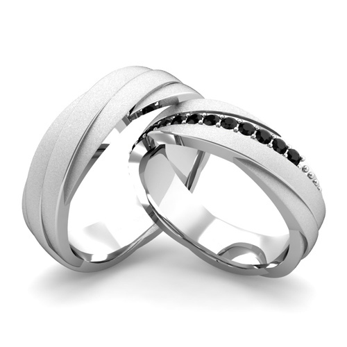 Matching Wedding Bands Black Diamond Rolling Wedding Ring Platinum