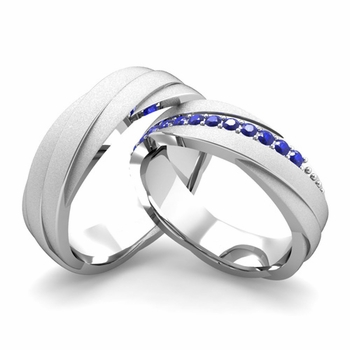 Satin Finish Matching Wedding Band in Platinum Sapphire Rolling Wedding Rings