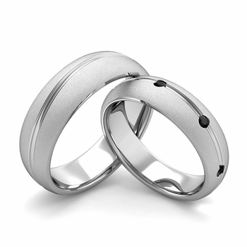 Satin Finish Matching Wedding Band in Platinum Wave Black Diamond Wedding Rings