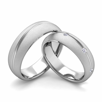 Satin Finish Matching Wedding Band in Platinum Wave Diamond Wedding Rings