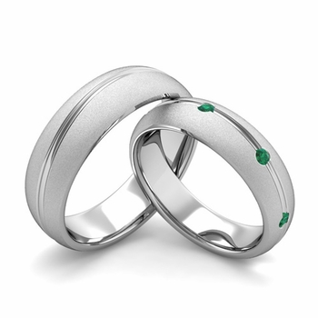 Satin Finish Matching Wedding Band in Platinum Wave Emerald Wedding Rings