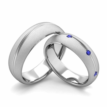 Satin Finish Matching Wedding Band in Platinum Wave Sapphire Wedding Rings