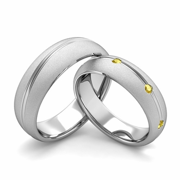 Satin Finish Matching Wedding Band in Platinum Wave Yellow Sapphire Wedding Rings
