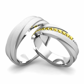 Satin Finish Matching Wedding Band in Platinum Yellow Sapphire Rolling Wedding Rings
