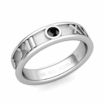 Solitaire Black Diamond Roman Numeral Wedding Ring in 14k Gold, 5mm