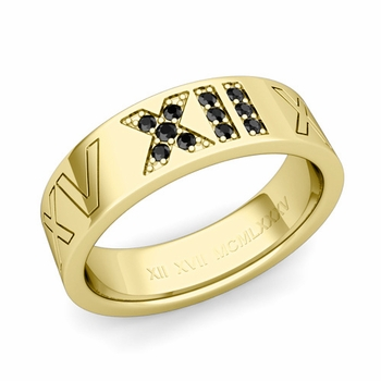 Roman Numeral Wedding Ring with Pave Set Black Diamond in 18k Gold