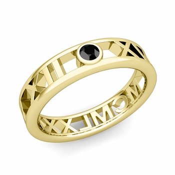 Bezel Set Black Diamond Roman Numeral Wedding Ring in 18k Gold, 5mm