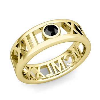 Bezel Set Black Diamond Roman Numeral Wedding Ring in 18k Gold, 7mm