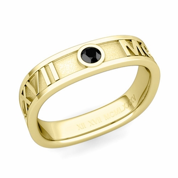 Square Roman Numeral Black Diamond Wedding Band in 18k Gold, 5mm