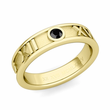 Solitaire Black Diamond Roman Numeral Wedding Ring in 18k Gold, 5mm