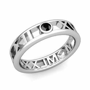 Bezel Set Black Diamond Roman Numeral Wedding Ring in Platinum, 5mm