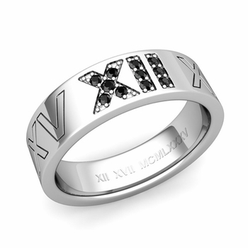 Roman Numeral Wedding Ring with Pave Set Black Diamond in Platinum