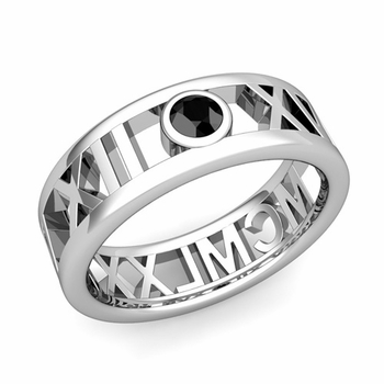 Bezel Set Black Diamond Roman Numeral Wedding Ring in Platinum, 7mm