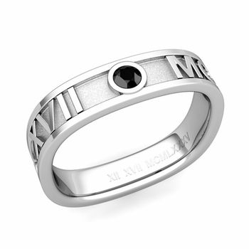 Square Roman Numeral Black Diamond Wedding Band in Platinum, 5mm