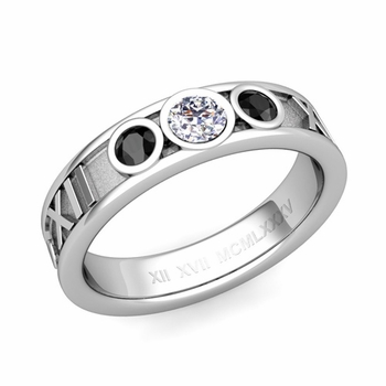 3 Stone Black and White Diamond Roman Numeral Wedding Ring in Platinum