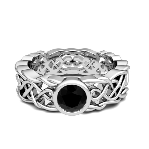 Order Now Ships On Friday 4 27order In 5 Business Days Solitaire Black Diamond Ring 14k Gold Celtic Knot