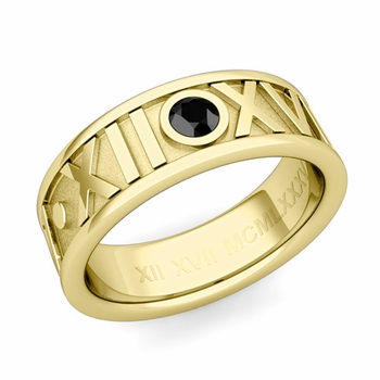 Solitaire Black Diamond Roman Numeral Wedding Ring in 18k Gold, 7mm