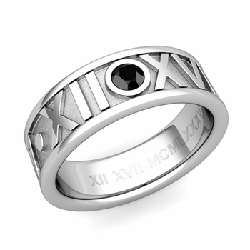 Solitaire Black Diamond Roman Numeral Wedding Ring in Platinum, 7mm