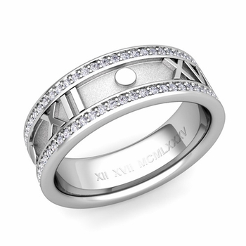 Roman Numeral Diamond Eternity Wedding Ring Band in 14k Gold