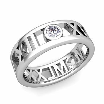 Bezel Set Diamond Roman Numeral Wedding Ring in 14k Gold, 7mm