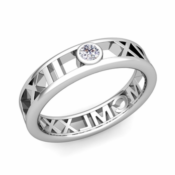 Bezel Set Diamond Roman Numeral Wedding Ring in 14k Gold, 5mm