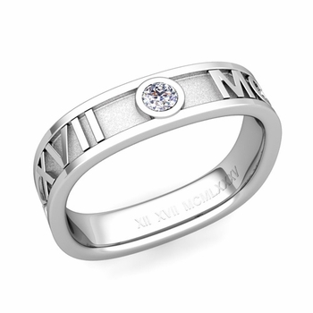 Square Roman Numeral Diamond Wedding Band in 14k Gold, 5mm