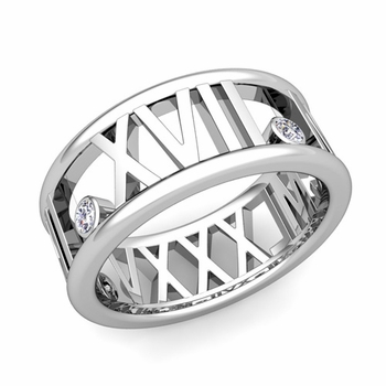 3 Stone Diamond Roman Numeral Wedding Ring in 14k Gold, 9mm