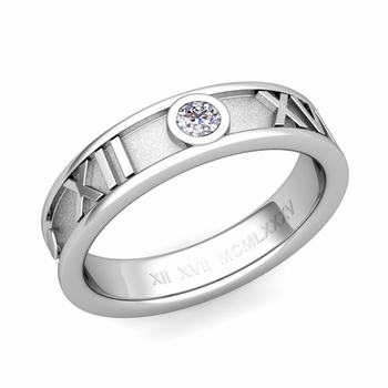 Solitaire Diamond Roman Numeral Wedding Ring in 14k Gold, 5mm
