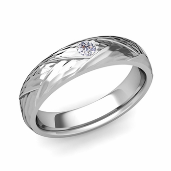 Solitaire Diamond Anniversary Ring in 14k Gold Hammered Wedding Band, 5mm