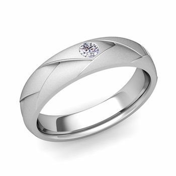 Solitaire Diamond Anniversary Ring in 14k Gold Satin Wedding Band, 5mm