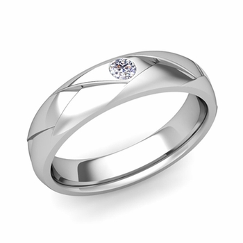Solitaire Diamond Anniversary Ring in 14k Gold Shiny Wedding Band, 5mm