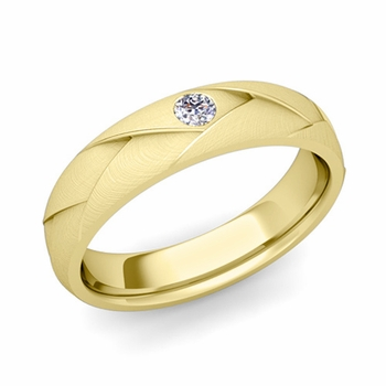 Solitaire Diamond Anniversary Ring in 18k Gold Brushed Wedding Band, 5mm