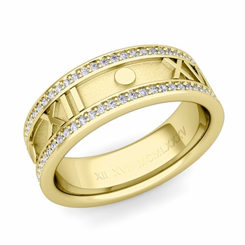 Roman Numeral Diamond Eternity Wedding Ring Band in 18k Gold