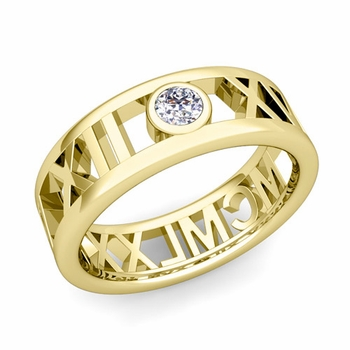 Bezel Set Diamond Roman Numeral Wedding Ring in 18k Gold, 7mm