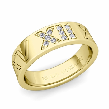 Roman Numeral Wedding Ring with Pave Set Diamond in 18k Gold