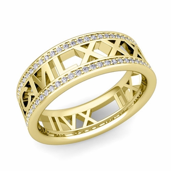 Roman Numeral Diamond Wedding Eternity Band Ring in 18k Gold