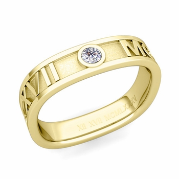 Square Roman Numeral Diamond Wedding Band in 18k Gold, 5mm