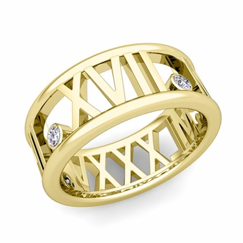 3 Stone Diamond Roman Numeral Wedding Ring in 18k Gold, 9mm