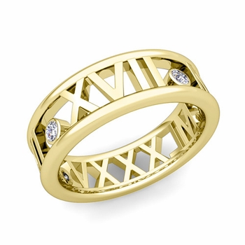 3 Stone Diamond Roman Numeral Wedding Ring in 18k Gold, 7mm